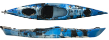 Cloud Blue Brizo ocean kayak top and side view